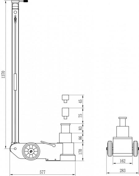 Poze CH30-2S Cric pneumo-hidraulic, profesional, 30/15 t