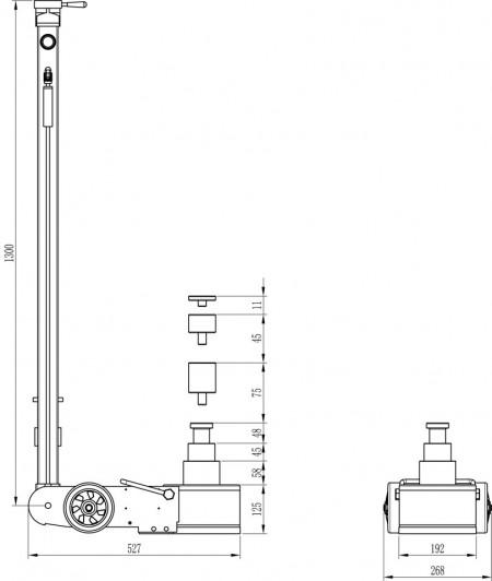 Poze CH40-3S Cric pneumo-hidraulic, pentru autobuze si camioane cu garda joasa, profesional, 40/22/10 t