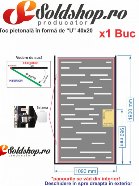 Kit Poarta Pietonala - Toc + Balamele + Clanta