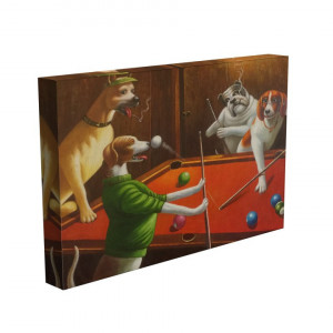 TABLOU DOGS PLAYING POOL