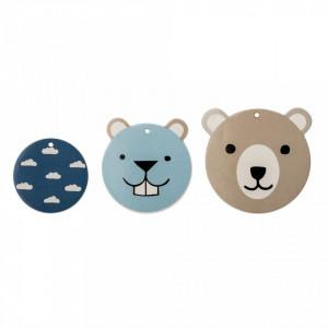 Set 3 decoratiuni perete din ceramica Bear Otter Bloomingville