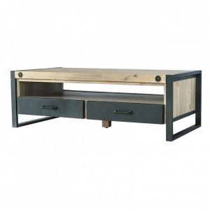 Masuta maro/neagra pentru cafea din lemn de salcam si metal 60x120 cm Boston Somcasa