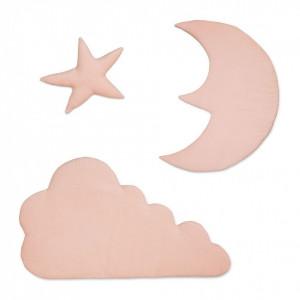 Set 3 decoratiuni roz din bumbac organic pentru perete Moon Cloud Star Blossom Pink Cam Cam