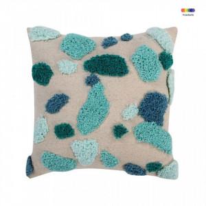 Perna decorativa patrata multicolora din bumbac 40x40 cm Terrazzo Emerald Lorena Canals