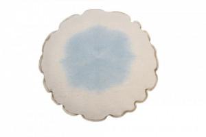 Perna decorativa rotunda albastra din bumbac 40 cm Tie Dye Soft Blue Lorena Canals