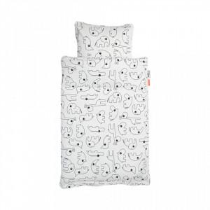 Lenjerie pat alb/negru din bumbac 70x100/40x45 cm White Done by Deer