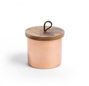 Recipient roz din metal cu capac din lemn Cassandra La Forma