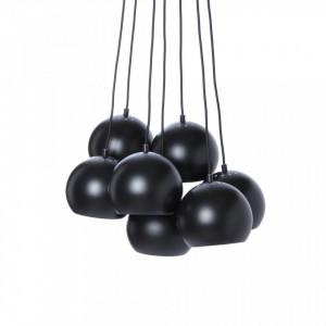Lustra neagra din metal cu 7 becuri Matt Black Ball Frandsen Lighting