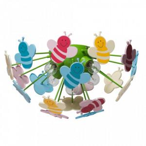 Plafoniera multicolora din metal si plastic cu 5 becuri pentru copii Kinder Smile II MW Glasberg