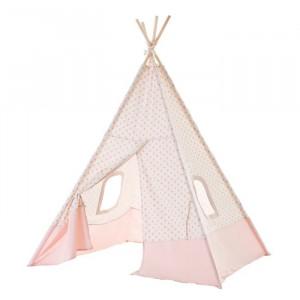 Cort alb/roz din lemn si poliester pentru copii Tipi Unimasa