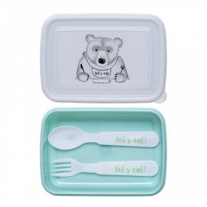 Cutie pentru pranz verde din plastic Hungry Bear Bloomingville