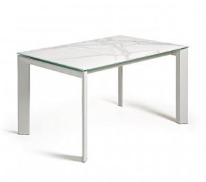 Masa dining extensibila dreptunghiulara alb din otel si portelan 90x(140)200 cm Atta Marble La Forma