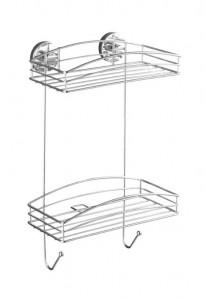 Raft argintiu din inox 26x43 cm pentru baie Vacuum-Loc Two Shelves Wenko