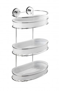 Raft argintiu din inox 28x47,5 cm pentru baie Vacuum-Loc Three Floors Milazzo Wenko