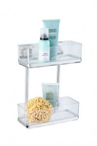 Raft argintiu/transparent din inox si plastic 25,5x32,5 cm pentru baie Vacuum-Loc Two Floors Quadro Maxi Wenko