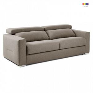Canapea extensibila maro din textil si metal 224 cm Queen Poli La Forma
