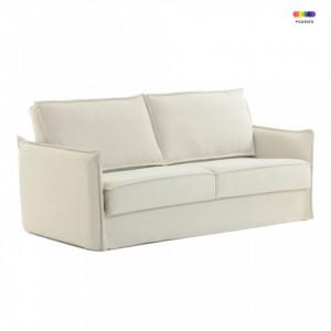 Canapea extensibila crem din bumbac si metal 182 cm Samsa Visco La Forma