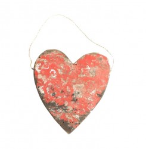 Decoratiune suspendabila rosie din lemn 18 cm Heart Raw Materials