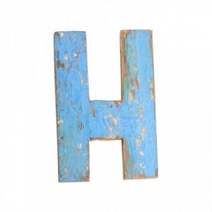 Decoratiune albastra din lemn 18 cm E Raw Materials