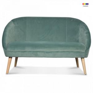 Canapea verde/maro din catifea si lemn pentru 2 persoane Gabriel Thyme Two Opjet Paris