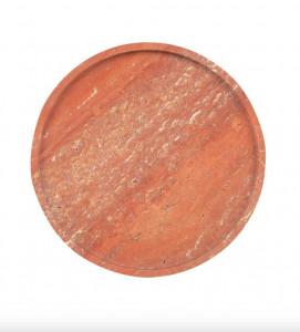 Platou decorativ rosu din travertin Red Marble Round Versmissen