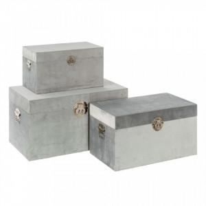 Set 3 cutii cu capac gri din MDF si poliester Teorcio Ixia