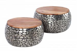 Set 2 masute maro/argintii din lemn de mango si metal Mosaic Stone Invicta Interior
