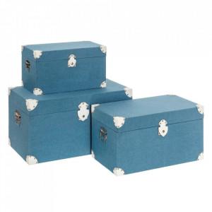 Set 3 cutii cu capac albastre din MDF si poliester Florence Ixia