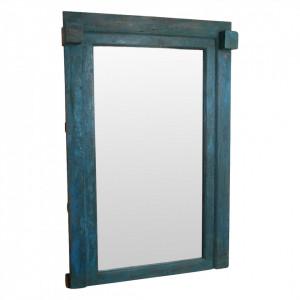 Oglinda dreptunghiulara albastra din lemn si sticla 138x210 cm Wilhos Raw Materials