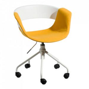 Scaun birou ajustabil alb/galben din metal si textil Valia Ixia