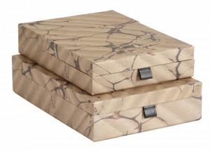 Set 2 cutii maro din carton si poliuretan Brown Mosaic Document Nordal