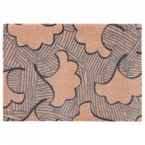 Pres dreptunghiular maro/gri din poliamide pentru intrare 50x70 cm Viva Leaf Elle Decor