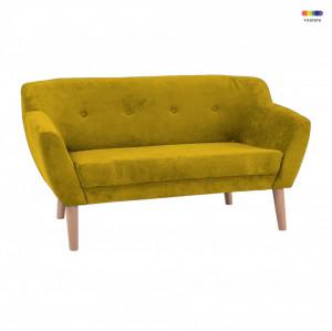 Canapea galbena din textil si lemn 139 cm Bergen Signal Meble