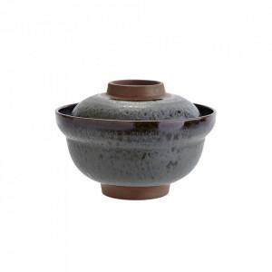 Bol cu capac albastru petrol/maro din ceramica 15,5 cm Stoneware Bowl Madam Stoltz