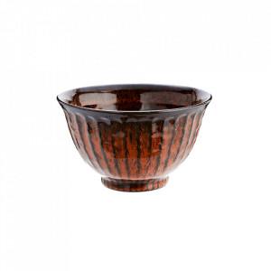 Bol portocaliu/maro din ceramica 15 cm Deep Orange Bowl Madam Stoltz