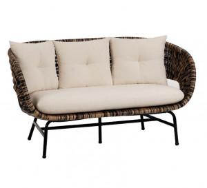 Canapea neagra/maro din ratan pentru 2 persoane Lin La Forma