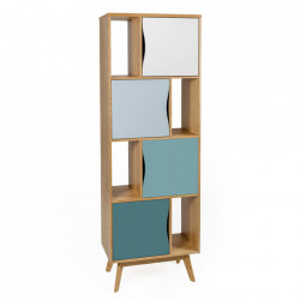 Biblioteca multicolora din lemn si MDF 191 cm Avon Narrow Spruce Woodman
