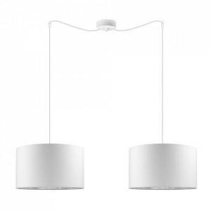 Lustra alba/argintie din bumbac si otel cu 2 becuri Mika White Pendant Medium Double Sotto Luce