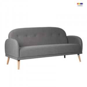 Canapea gri inchis din lemn de pin si poliester pentru 2 persoane Chicago Dark Grey Somcasa