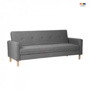 Canapea extensibila gri din lemn de pin si poliester pentru 2 persoane Delhi Grey Somcasa
