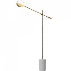 Lampadar maro alama/alb din metal si terrazzo cu LED 135 cm Leaves Floor Brass Bolia