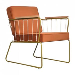 Scaun lounge maro chihlimbar/galben din catifea si metal Cabanette Opjet Paris