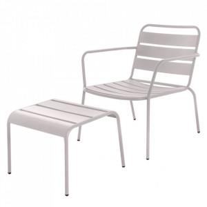 Set scaun si scaunel pentru picioare gri din otel pentru exterior Vega Grey Unimasa