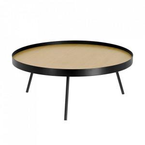 Masuta neagra/maro din lemn si metal pentru cafea 84 cm Nenet La Forma