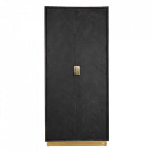 Dulap negru/auriu din lemn si inox 220 cm Blackbone Cabinet Big Gold Richmond Interiors