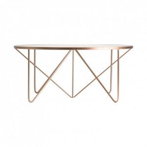 Masa transparenta/aramie din sticla si metal pentru cafea 100 cm Copper Vical Home