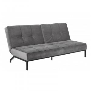 Canapea extensibila gri inchis/neagra din metal si poliester 198 cm Perugia Actona Company