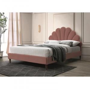 Pat roz din catifea si placaj 160x200 cm Santana Signal Meble