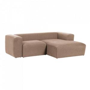 Canapea roz din fibre acrilice si lemn de pin cu colt pentru 2 persoane Blok Right La Forma