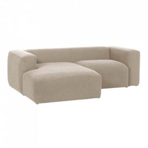 Canapea bej din fibre acrilice si lemn de pin cu colt pentru 2 persoane Blok Left La Forma